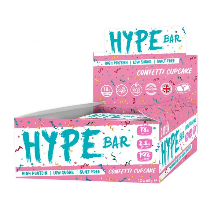 Oatein Hype protein bar, Confetti Cupcake flavour 60g - Case of 12 Multisave