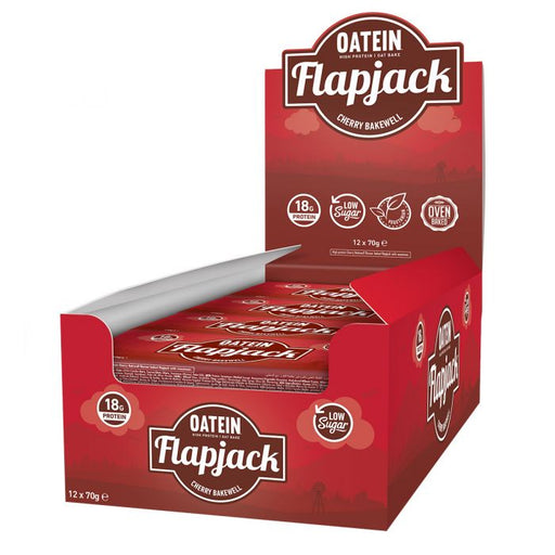 Oatein Cherry Bakewell Low Sugar Protein Flapjack 70g - Case of 12 Multisave