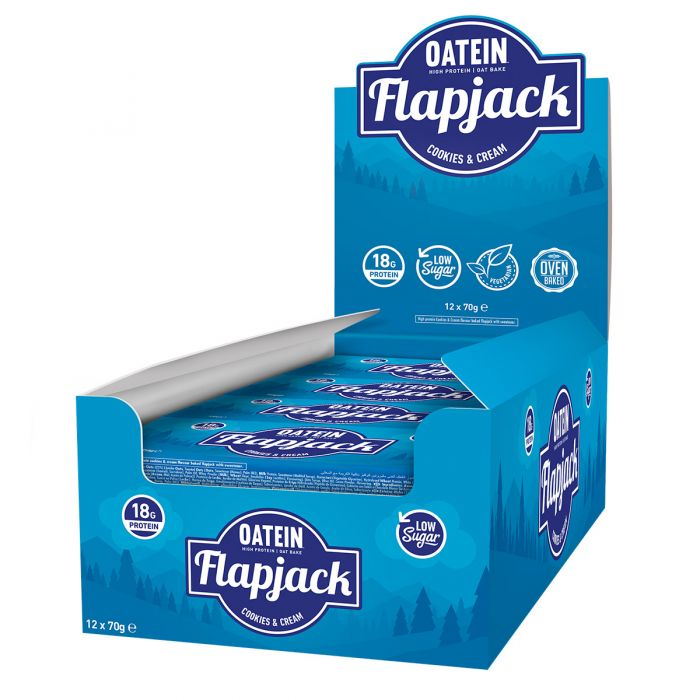 Oatein Cookies & Cream Low Sugar Protein Flapjack 70g - Case of 12 Multisave