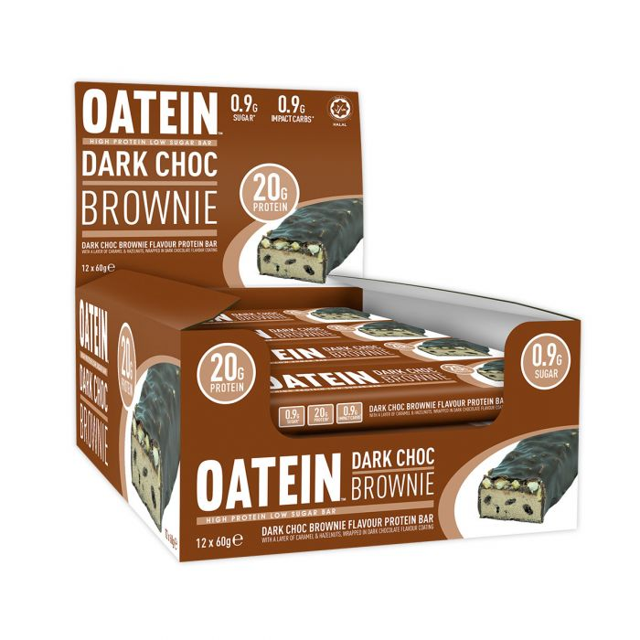 Oatein Dark Choc Brownie Low Sugar Protein Bar 60g - Case of 12 bars Multisave