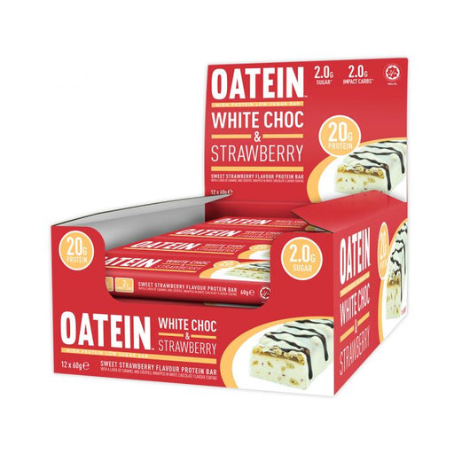 Oatein White Choc & Strawberry Low Sugar Protein Bar 60g - Case of 12 bars Multisave