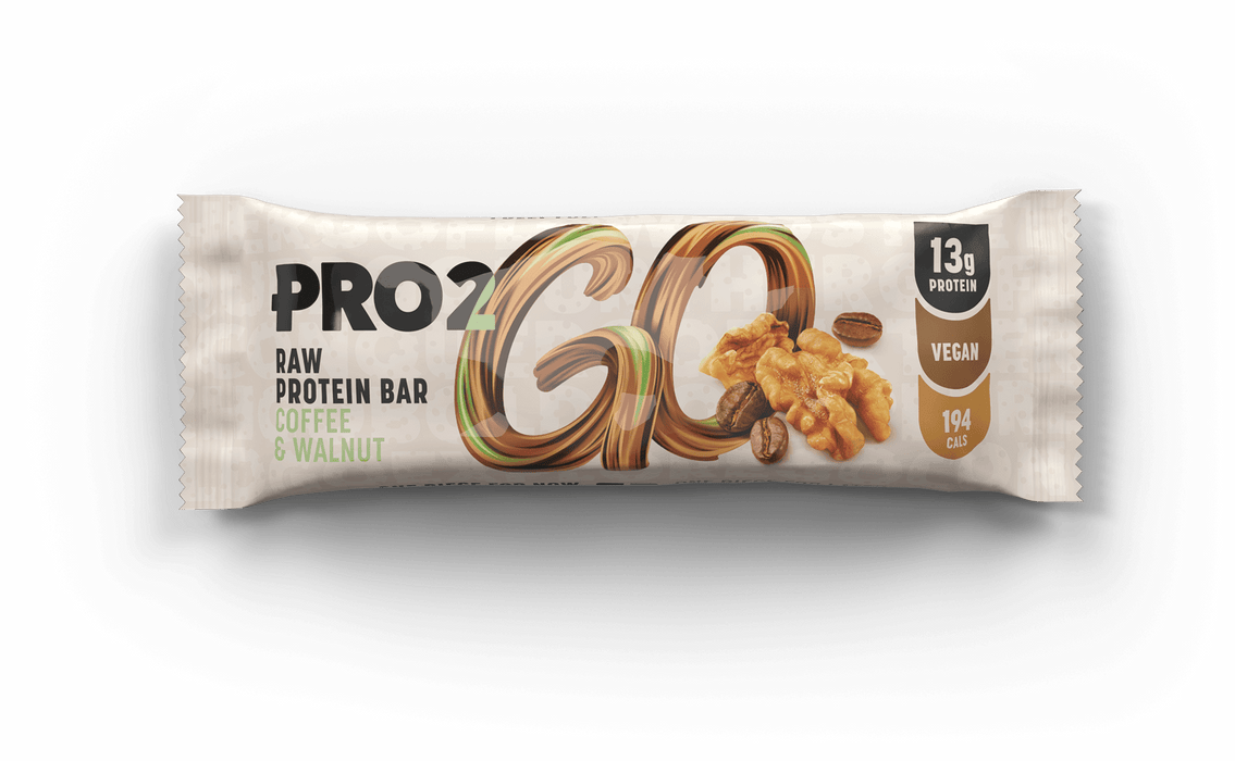 Pro2Go Coffee & Walnut Raw Protein bar 50g (2 x 25g pieces per pack)