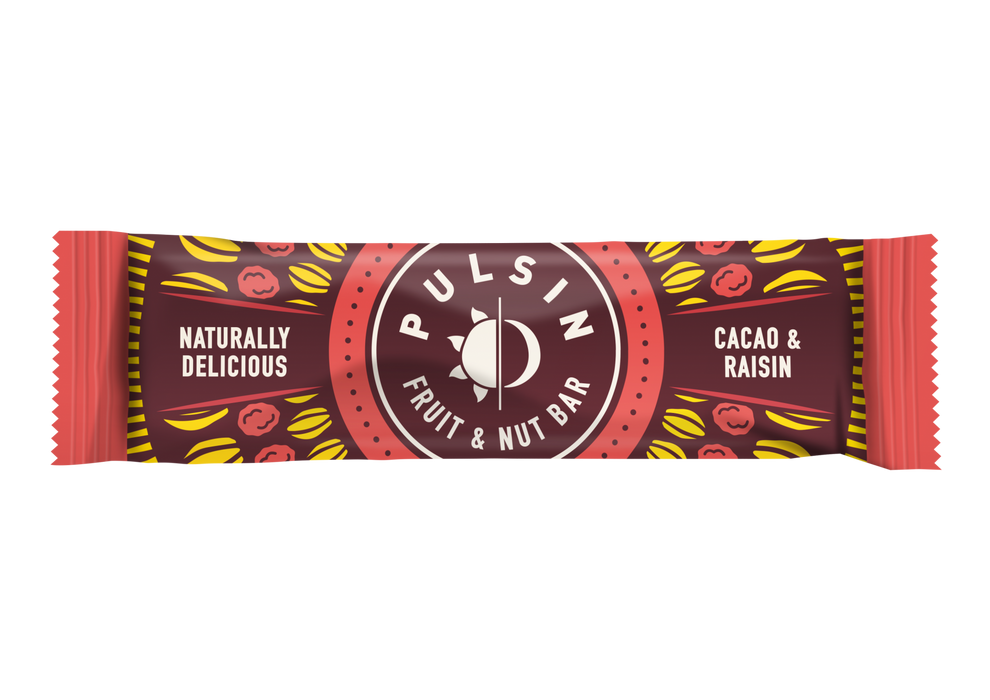 Pulsin Cacao and Raisin Fruit & Nut bar 35g - Case of 18 bars Multisave