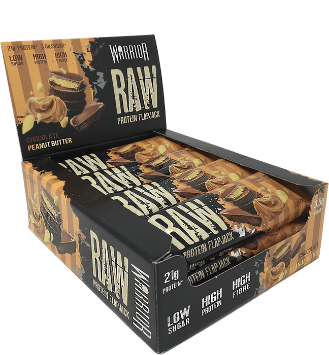 Warrior Raw Chocolate Peanut Butter flavour Protein Flapjack 75g - Case of 12 Multisave