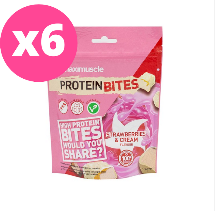 Maximuscle Strawberries & Cream Flavour Protein Bites 110g - Case of 6 packs Multisave