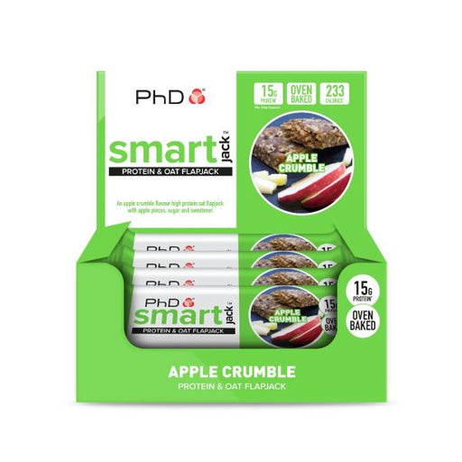 PhD Smart Jack Apple Crumble Flavour Protein & Oat Flapjack 60g - Case of 12 Multisave (Best Before Date: 30/11/2019)