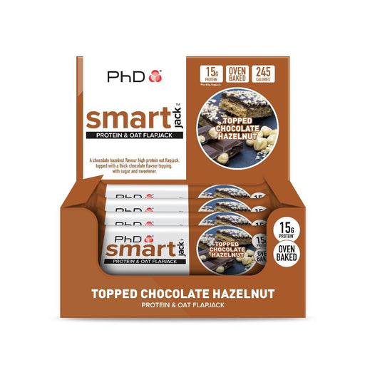 PhD Smart Jack Topped Chocolate Hazelnut Protein & Oat Flapjack 60g - Case of 12 Multisave (Best Before Date: 30/11/2019)