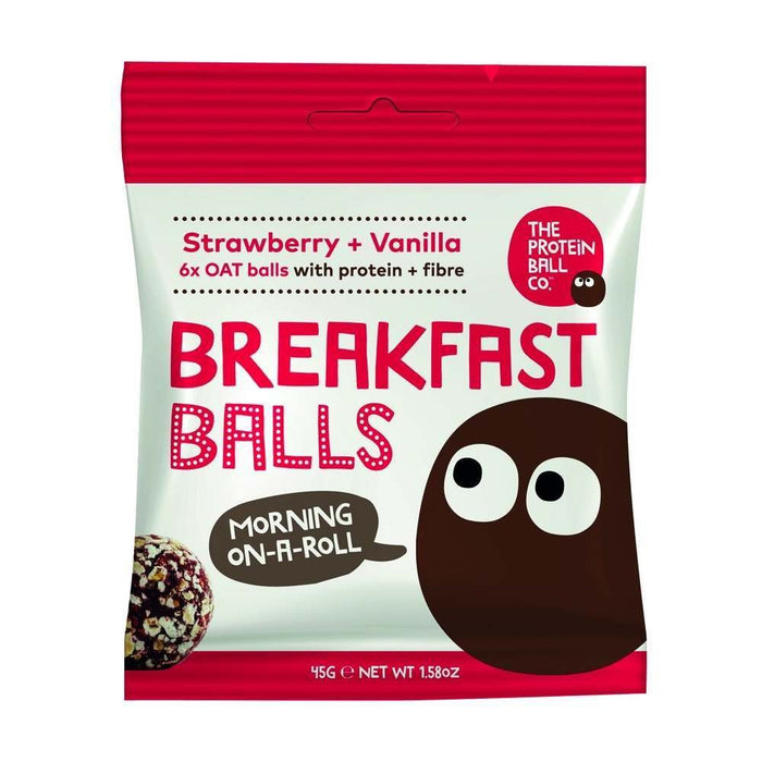 Protein Ball Co. Strawberry & Vanilla Breakfast Balls 45g - Case of 10 packs Multisave