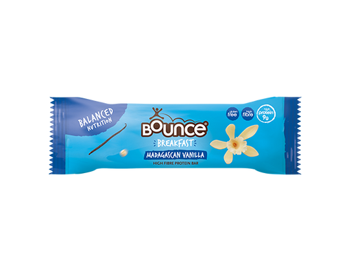 Bounce Madagascan Vanilla High Fibre Breakfast Protein Bar 45g - Case of 20 bars Multisave