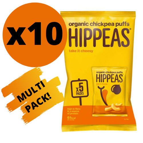 Hippeas Organic Chickpea Puffs Take It Cheesy Flavour 5x15g Multipack - Case of 10 Multipacks Multisave