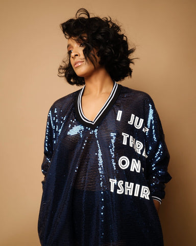 """I Just Threw in a T-Shirt"" sequin shirt dress"