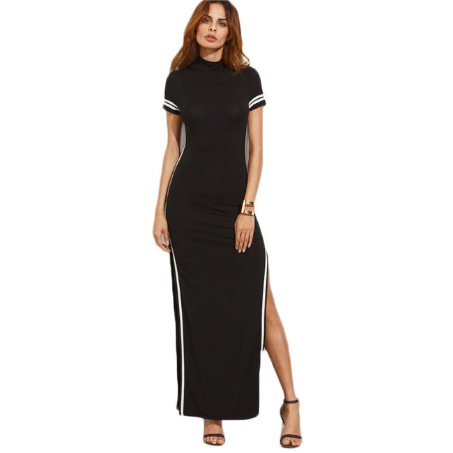 High Neck Split Sheath Maxi Dress