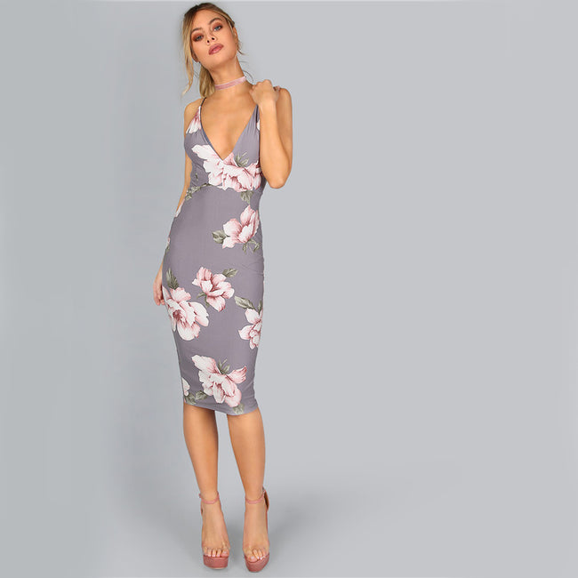 Plunge Neck Elegant Midi Dress