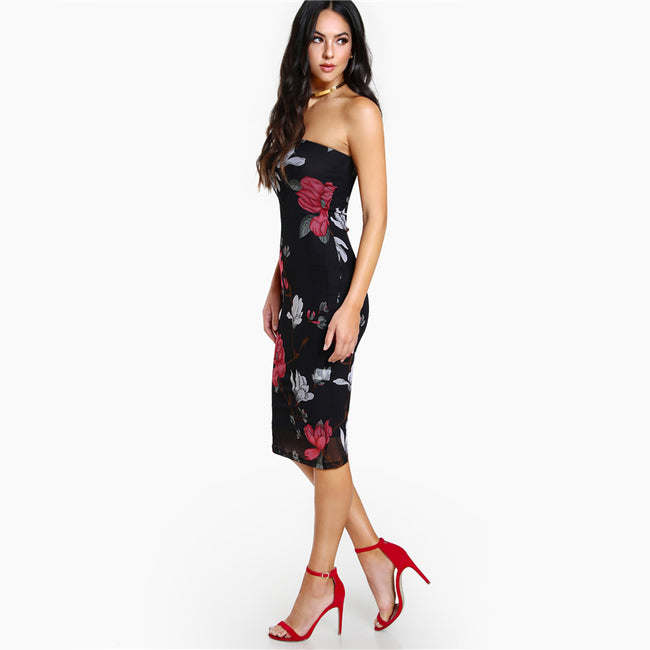 Floral Bodycon Bandeau Dress