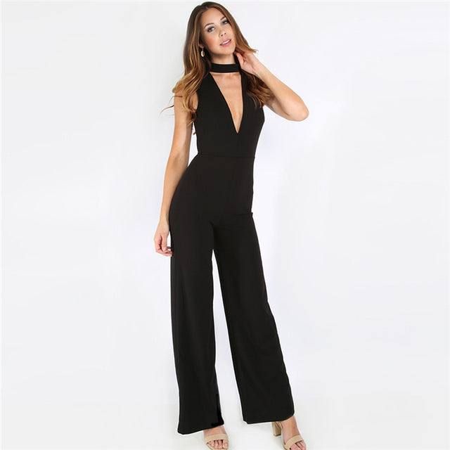 Black Double V Sleeveless Jumpsuit