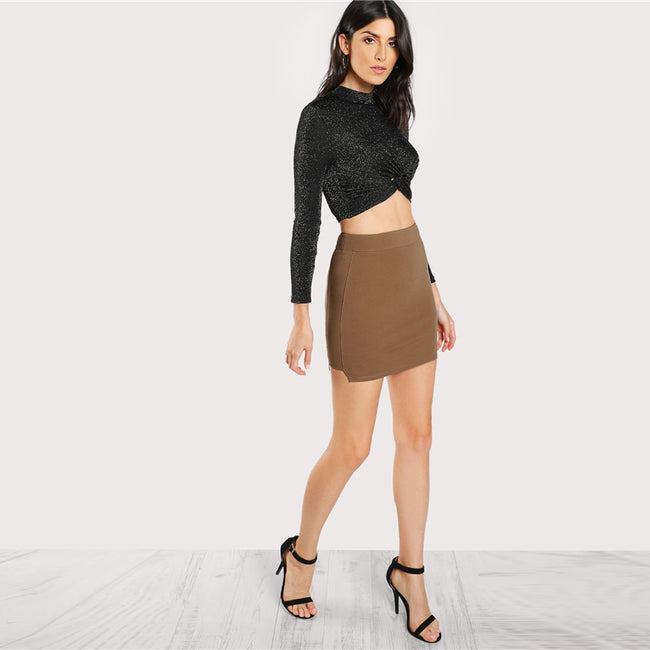 Spring Solid Knit Skirt