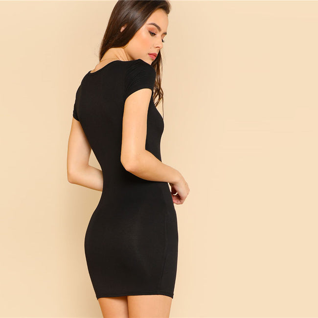 Slit Front Fitted Dress