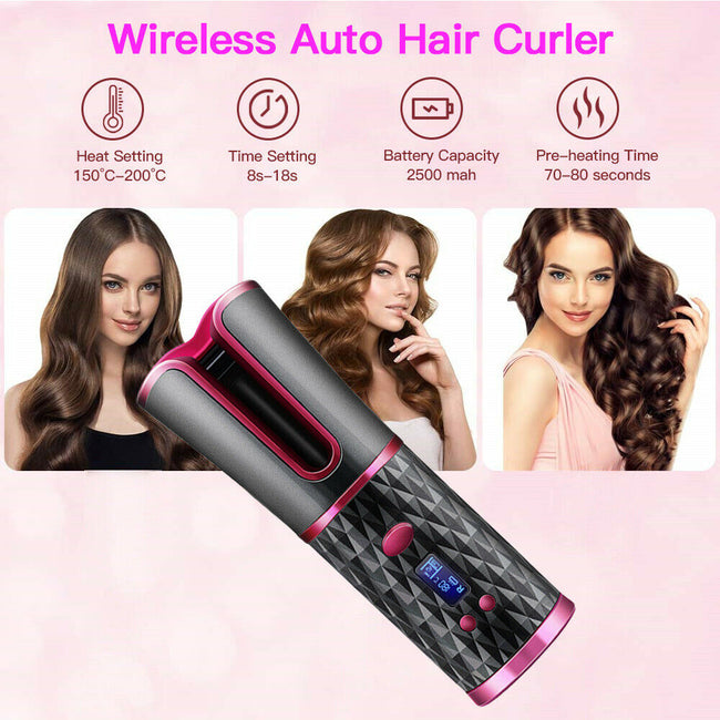 Wireless Hair Curler Auto Rotating Ceramic Hair Waver LCD Digital Salon Portable