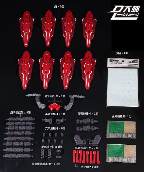 DL > C. Red shields: Astraea Type-F / Avalanche set (For Bandai MB use)