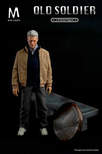 MIN-002 Mini Figure 1/6 Old Soldier with  Scene Display Stone Bench