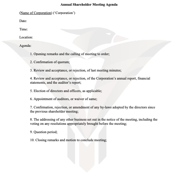 Annual Shareholder Meeting Agenda