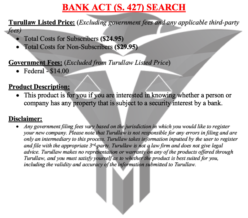 Bank Act Search (Section 427)