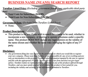 NUANS Name Search Report - Non-Profit Corporation