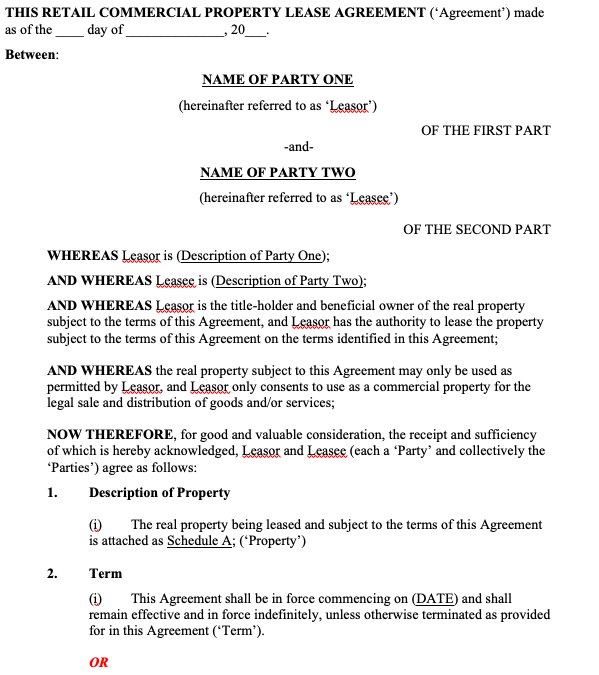Commercial Property Lease Agreement - Retail