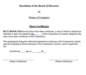 Adoption of Share Certificate