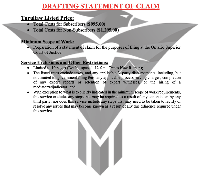 Drafting Statement of Claim - (Flat-Rate)