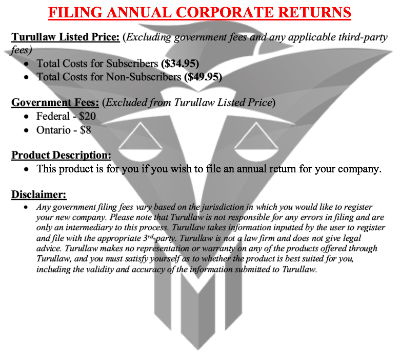 Filing Annual Corporate Returns