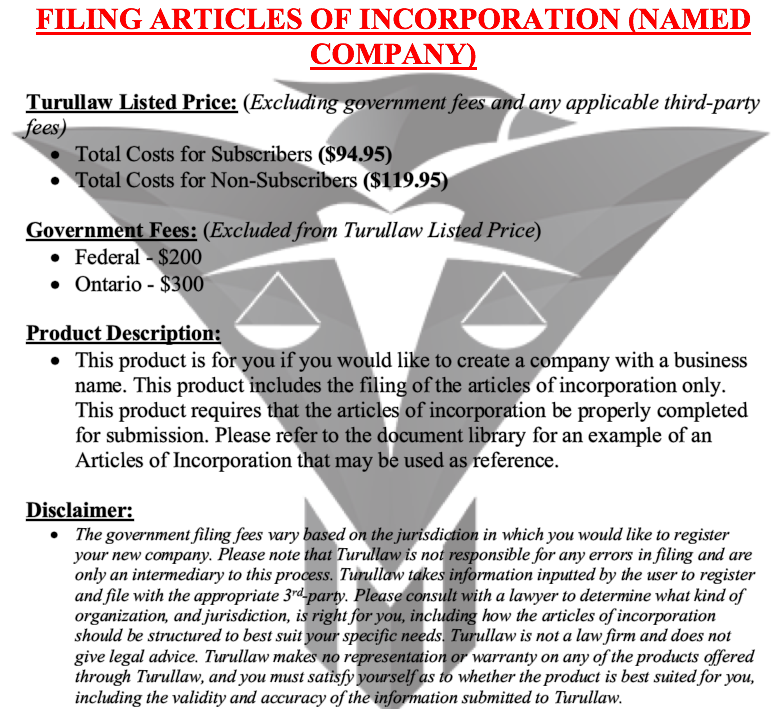 Articles of Incorporation - Named Corporation