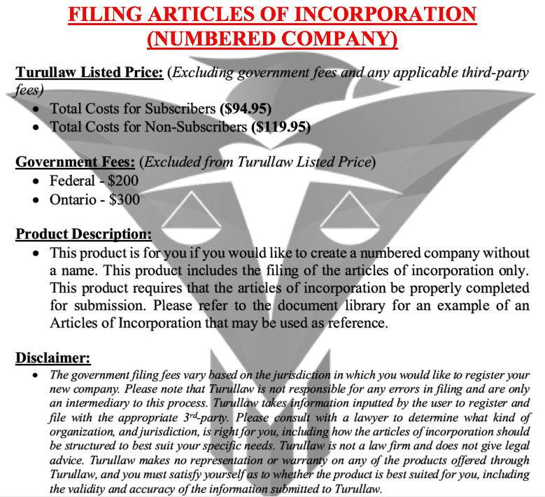 Articles of Incorporation - Numbered Company