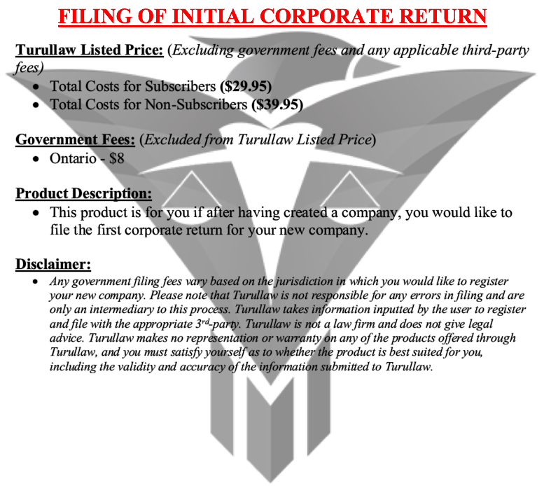 Filing of Initial Return - Numbered Corporation