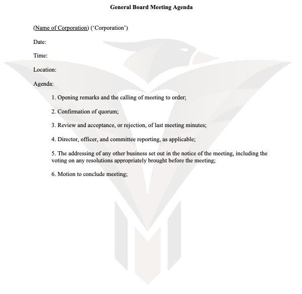 General Board Meeting Agenda