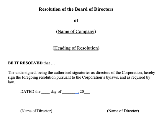 General Ordinary Directors Resolution