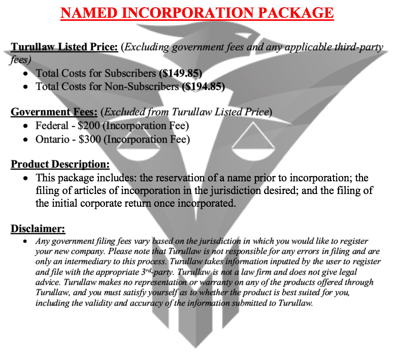 Named Incorporation - Incorporation Package