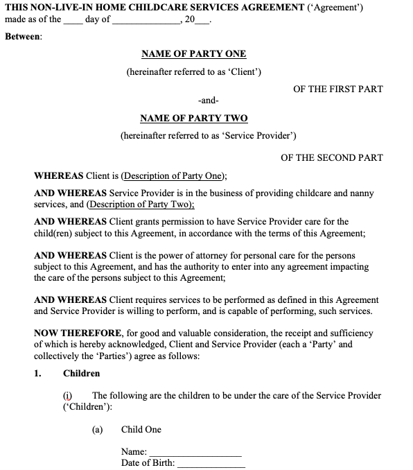 Non-Live-In Nanny and Home Childcare Service Agreement
