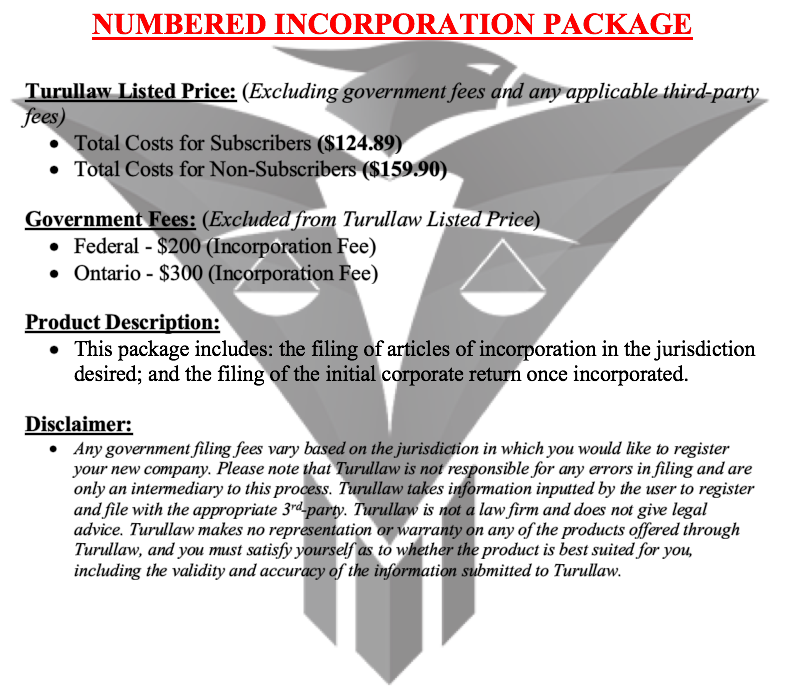 Numbered Incorporation - Incorporation Package