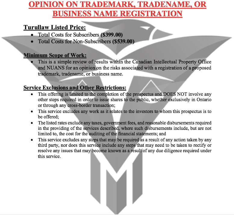 Opinion on Trademark/Tradename/Business Name Registration - (Non-Subscribers)