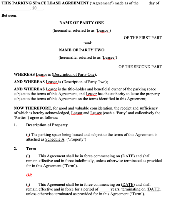 Parking Space Rental Agreement