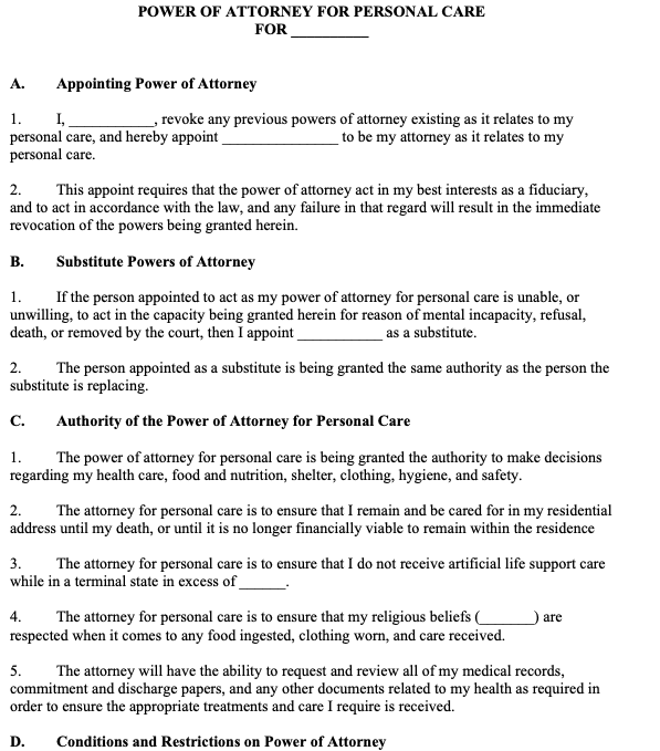 Power of Attorney for Personal Care