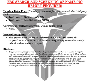 Pre-Search and Screening of Name (no report provided)