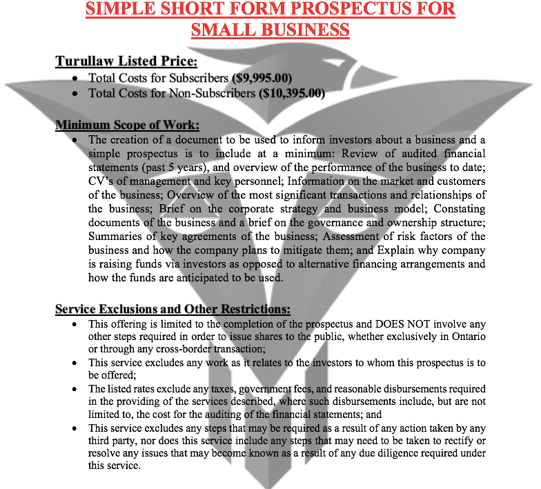 Simple Short Form Prospectus for Small Business - (Flat-Rate)