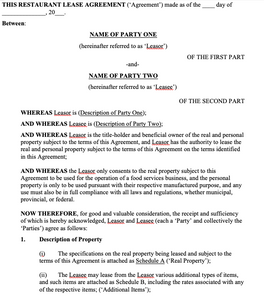 Restaurant Lease Agreement