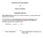 Confirmation of By-Laws (Shareholders)