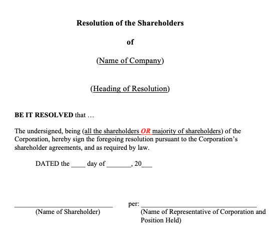 General Ordinary Shareholders' Resolution