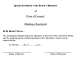 General Special Directors Resolution