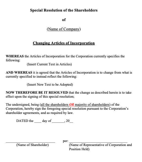 Change of Articles of Incorporation