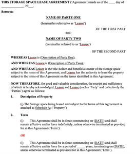 Storage Space Lease Agreement